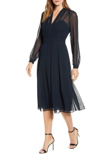 Anne Klein Long Sleeve Fit & Flare Dress