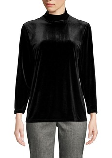 Anne Klein Long-Sleeve Velvet Top