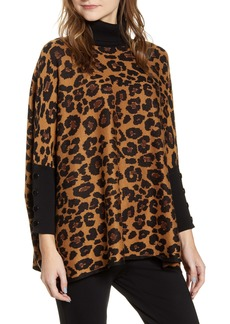 Anne Klein Lurex Dolman Sleeve Animal Print Turtleneck Sweater