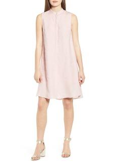Anne Klein Mandarin Collar Linen Trapeze Dress