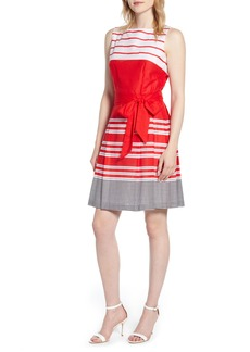 Anne Klein Matelot Mixed Stripe Cotton Dress