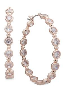 """Anne Klein Medium Crystal Hoop Earrings, 1.61"""""""
