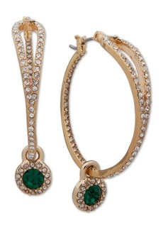 "Anne Klein Medium Gold-Tone Pave & Stone Charm Hoop Earrings, 1-1/2"""