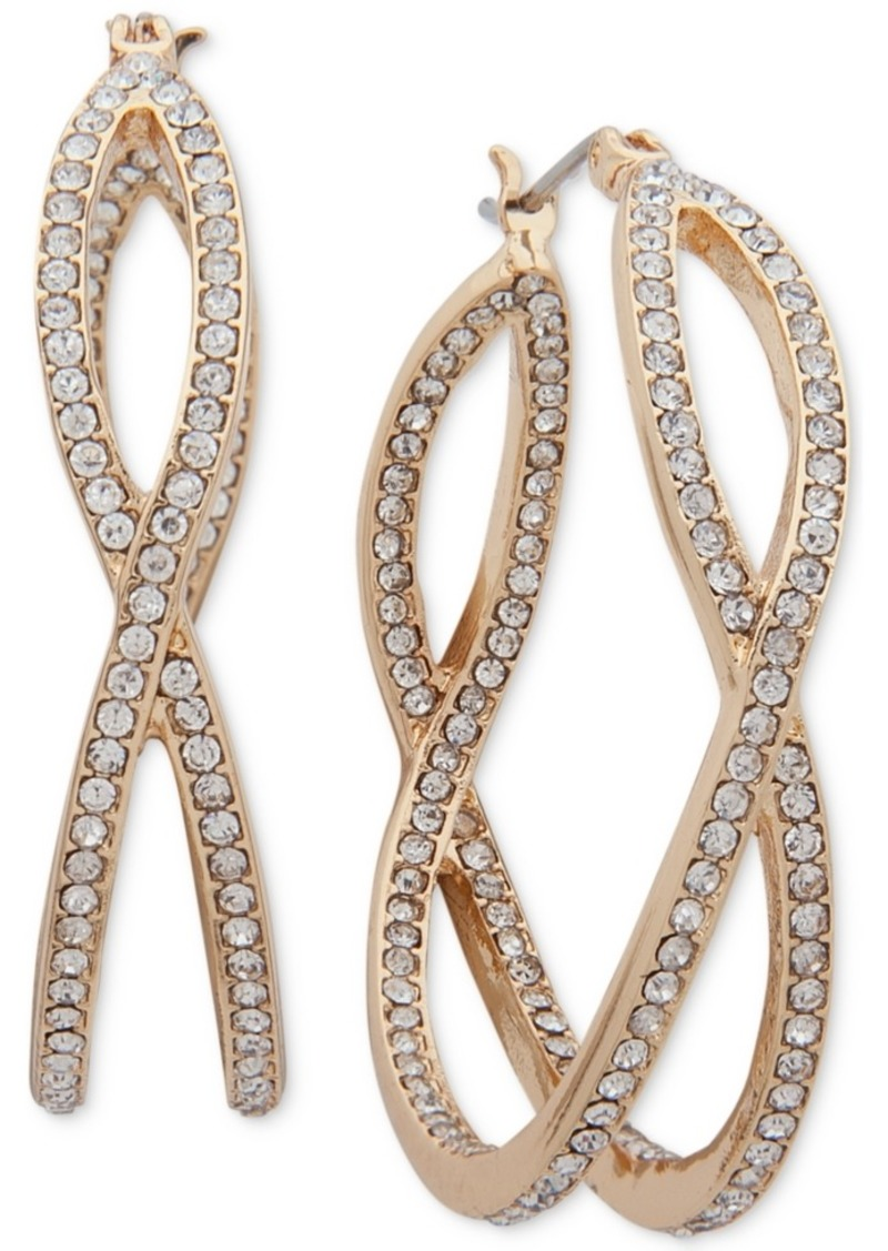 Anne Klein Medium Gold-Tone Pave X-Hoop Earrings 1-1/2""