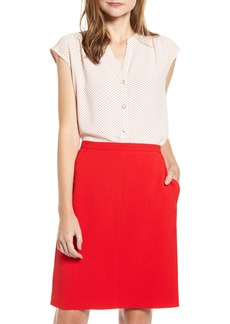 Anne Klein Microdot Button Front Blouse