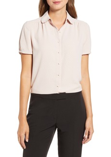 Anne Klein Microdot Button Front Short Sleeve Blouse