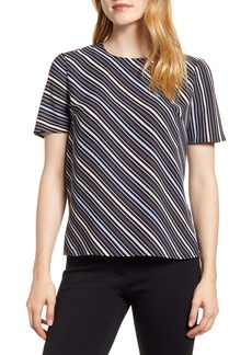 Anne Klein Milano Stripe Short Sleeve Blouse