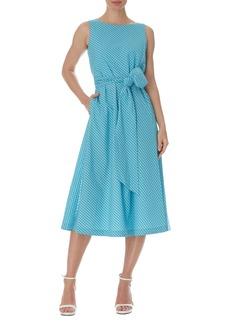 Anne Klein Mini Check Tie Waist Sleeveless Midi Dress