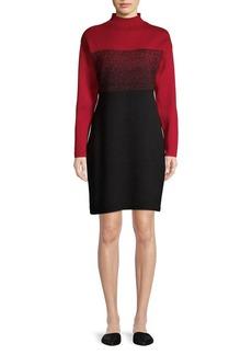 Anne Klein Mock Neck Ombre Knit Sheath Dress