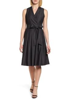 Anne Klein New York Notch Collar Stretch Denim Dress