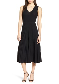 Anne Klein Pleated Sweater Midi Dress