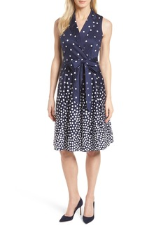 Anne Klein New York Scattered Dot Notch Collar Dress