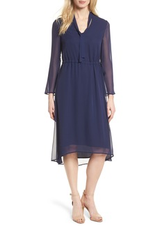 Anne Klein New York Sheer Overlay Tie Dress