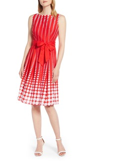 Anne Klein Octogon Print Fit & Flare Cotton Dress