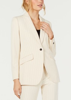Anne Klein One-Button Striped Jacket