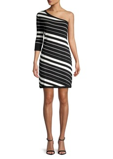 Anne Klein One-Shoulder Contrast-Stripe Sheath Dress