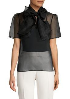 Anne Klein Organza Tie-Bow Silk Blouse