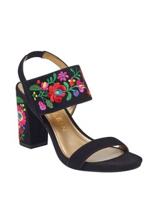 Anne Klein Orinda Floral Suede Slingback Sandals