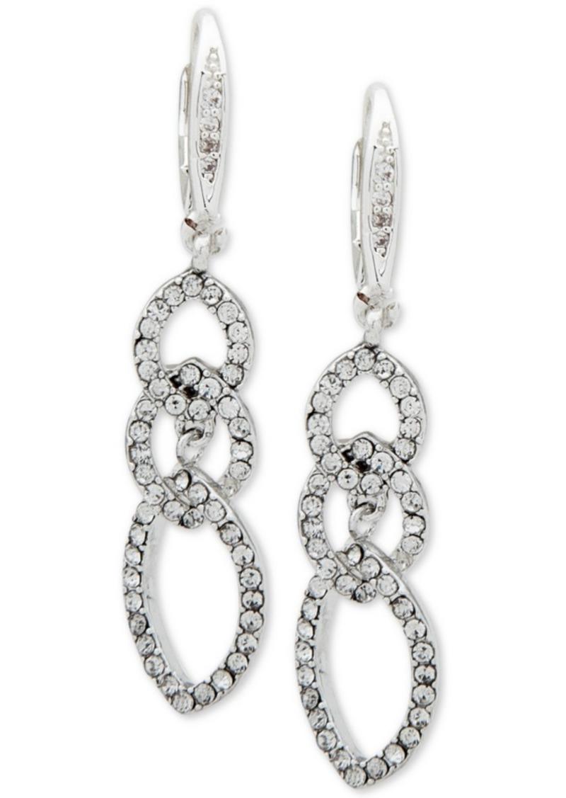 Anne Klein Pave Interlocked Link Drop Earrings