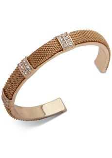 Anne Klein Gold Pave Mesh Cuff Bracelet, Created for Macy's