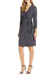 Anne Klein Pearly Dot Faux Wrap Dress