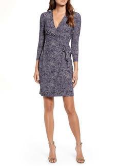 Anne Klein Pebble Dot Long Sleeve Wrap Dress
