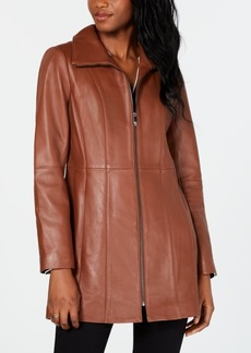 Anne Klein Stand-Collar Leather Coat