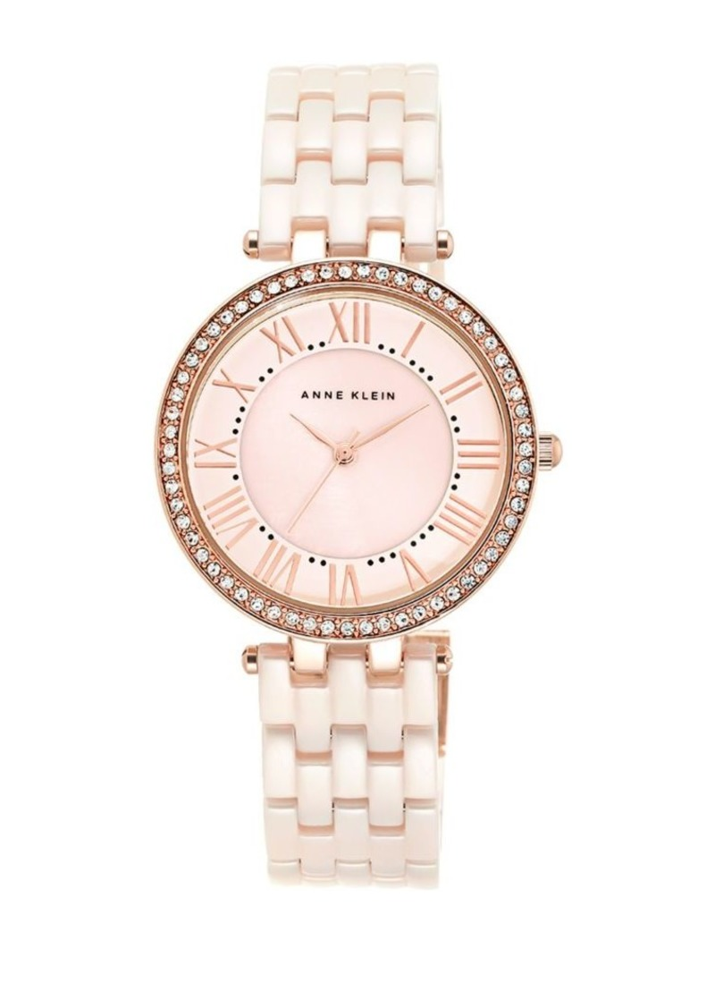 Anne Klein Pink Ceramic Link Bracelet Watch