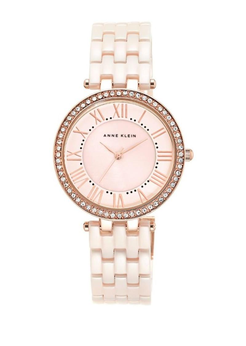 Anne Klein Pink Ceramic Link Bracelet Watch