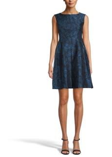 Anne Klein Pleat-Front Jacquard Dress