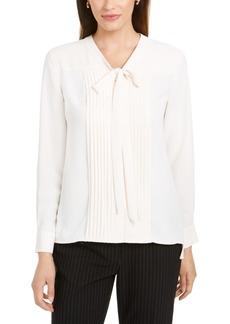 Anne Klein Pleated Tie-Neck Button-Up Top