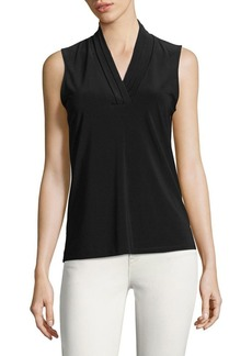 Anne Klein Pleated V-Neck Shell Top