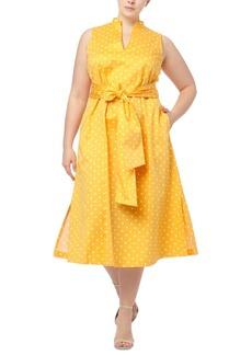 Anne Klein Plus Size Beekman Dot-Print Midi Dress
