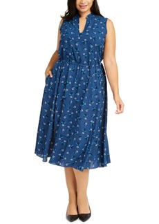 Anne Klein Plus Size Botanical Print Tie-Waist Midi Dress