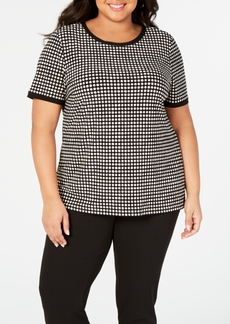 Anne Klein Plus Size Button-Back Short-Sleeve Top