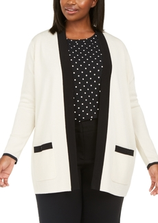 Anne Klein Plus Size Colorblocked Open-Front Cardigan