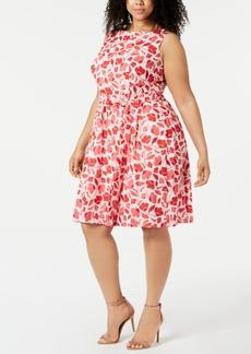 Anne Klein Plus Size Cotton Printed Jacquard Fit & Flare Dress