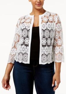 Anne Klein Plus Size Cotton Sheer Crochet Cardigan