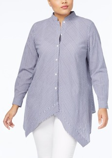 Anne Klein Plus Size Cotton Shirt with Asymmetrical Hem