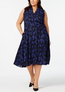 Anne Klein Plus Size Delphine-Print Drawstring Dress