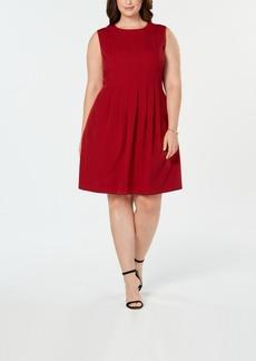 Anne Klein Plus Size Dot-Print Pleated Dress