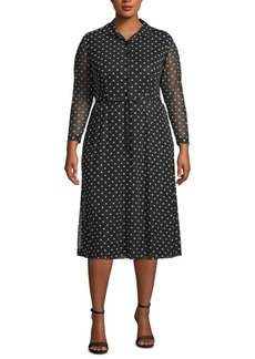 Anne Klein Plus Size Dot-Print Sheer-Sleeve Dress