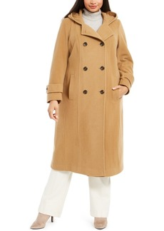 Anne Klein Plus Size Double-Breasted Hooded Maxi Coat