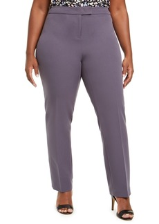Anne Klein Plus Size Flat-Front Stretch Pants