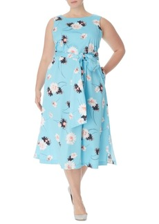 Anne Klein Plus Size Floral-Print Midi Dress