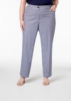 Anne Klein Plus Size Gingham Check Straight-Leg Pants