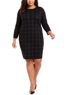 Anne Klein Plus Size Grid-Print Dress