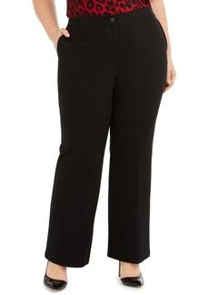 Anne Klein Plus Size Mid-Rise Flat-Front Pants