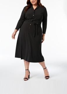 Anne Klein Plus Size Pin Dot Shirtdress
