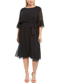 Anne Klein Plus Size Printed Bell-Sleeve A-Line Dress